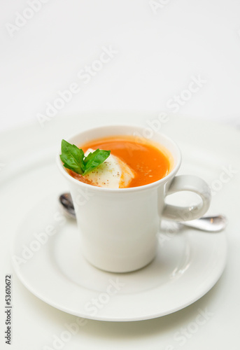 Gaspacho soup served in coffee cup