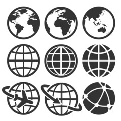 Earth vector icons set. Credit : NASA