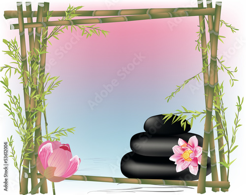 green bamboo frame and pink lily flowers