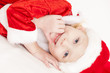 portrait of little girl as Santa Claus