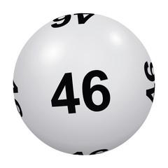 Loto, boule blanche numéro 46