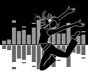 musical equalizer and silhouette girl running