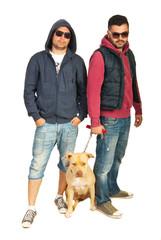 Bad boys with pitbull dog