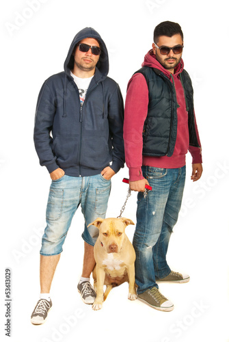 Bad boys with pitbull dog