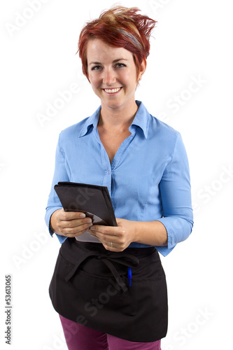 waitress collecting her check / tip / or gratuity