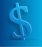 Blue dollar symbol on blue background