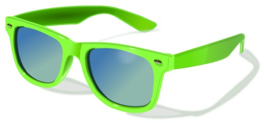 Plastic green sunglasses separated at white background