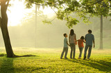 silhouette of a family walking in the park during a beautiful su