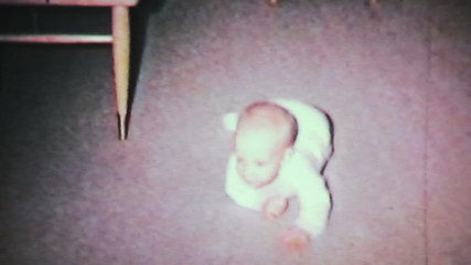 Baby Boy Learning To Crawl-1964 Vintage 8mm film