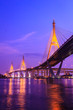 Bhumibol huge industrial bridge at dusk in Samut Prakarn Bangkok
