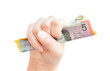 Fistful of cash with Australian money