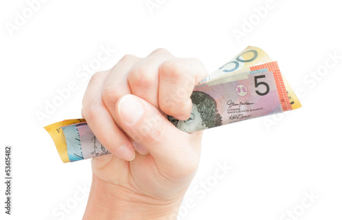 Fistful of cash with Australian money