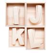 I,J,K,L wood alphabet in block