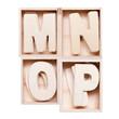 M,N,O,P wood alphabet in block