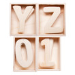 Y,Z,0,1 wood alphabet in block