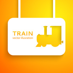 Train cut out of paper on color background. Vector illustration.