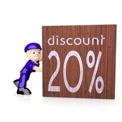 3d render of a -20 discount symbol  on delivered box