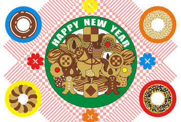 2014年午年完成年賀状テンプレート(クッキーとドーナッツ)HAPPYNEWYEAR