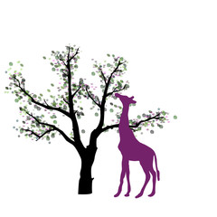 Abstrakter Baum mit Giraffe