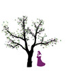 Abstrakter Baum mit Nonne