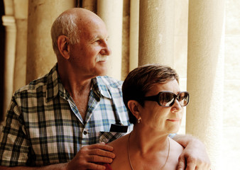 Portrait of a loving senior couple on vacation