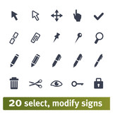 Select, modify signs: vector set of icons for web