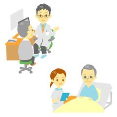 病院 診察 入院 おじいさん
