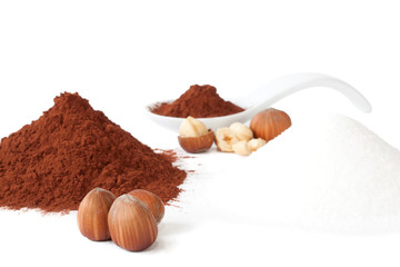 Cocoa powder, sugar and hazelnuts