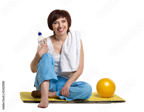 smiling woman resting