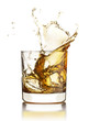 Whisky splashing out of the glass with ice cubes isolated on whi