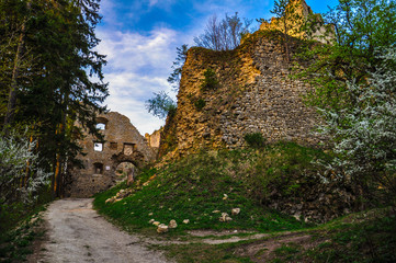 Entry Road and Gate to the Ancient Castle Lietava near Zilina, S
