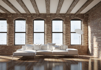 Contemporary stylish loft interior, with brick walls, white sofa