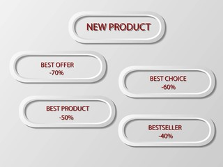 Modern business labels sales and discount white