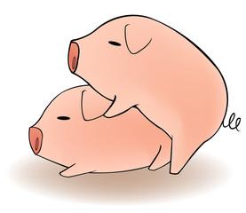 Two cartoon pigs having sex