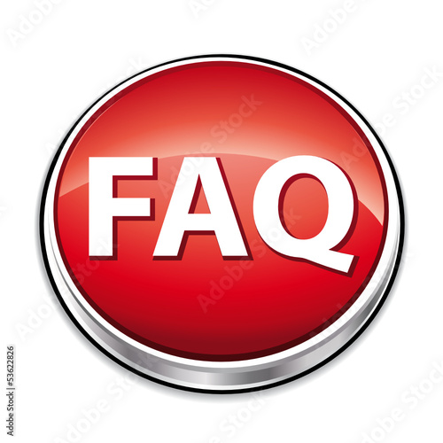 Red faq button icon.