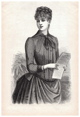 young woman in corsage dress with letter. vintage clothing 1888