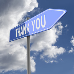 Thank You words on Blue Road Sign