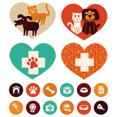 Vector veterinary emblems and signs