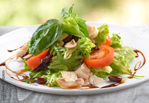 fresh salad with mushrooms