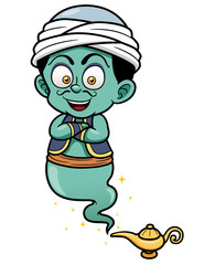 Vector illustration of genie just came out of the lamp
