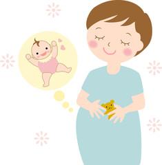 妊婦さんと赤ちゃん 半袖 夏
