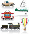set icons old retro transport vector illustration