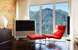 interior luxury apartment, comfortable red armchair