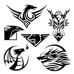 Dragon Symbols. 6 different dragon symbols. Vector EPS10 file.