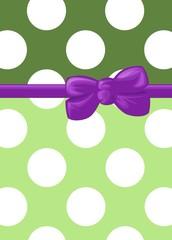 Polka Dots - Ribbon and Bow - Green, White, Purple