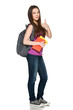 Smiling girl with backpack holding books showing thumb up