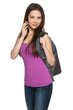 Female with backpack talking on cell phone