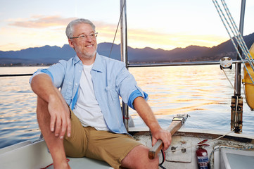 happy sailing man boat