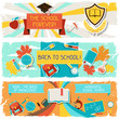 Horizontal banners with an illustration of school objects.