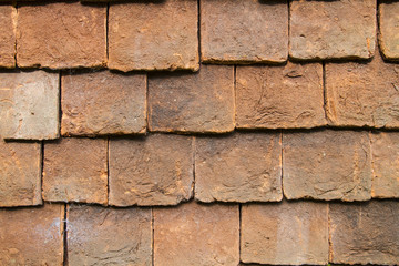 Close up of clay external wall tiles